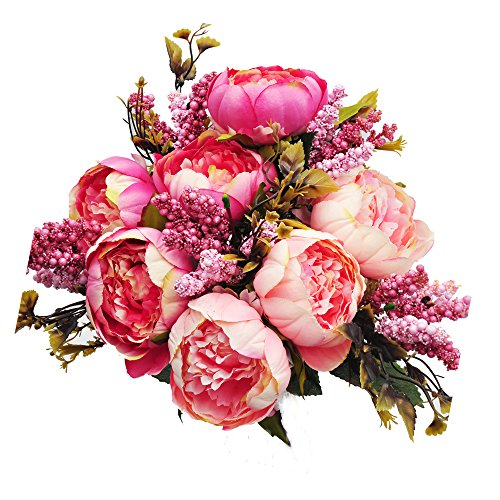 cn-Knight Artificial Silk Peony Bouquet 7PCS Flowers Per Brunch,Fake Real-Touch Arrangement for Wedding Décor Arch Bridal&Bridesmaid Home Office Baby Shower Party Prom Centerpieces Garland(Pink) ()