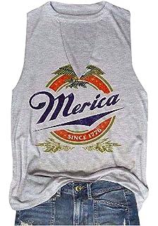 310a4a6bae8a89 HDLTE Women Merica Since 1776 Tank Tops Sleeveless Racerback T-Shirt Vest
