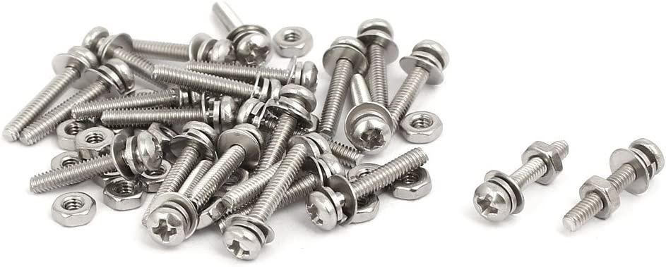 uxcell M2x12mm 304 Stainless Steel Phillips Pan Head Bolt Screw Nut w Washer 25 Sets