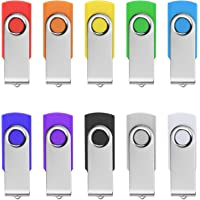 TPSON 10 Pezzi Chiavette USB 16GB Memoria USB 2.0 Metallo Flash Drive Multicolorato Girevole PenDrive (10 PCS, Multicolorato)