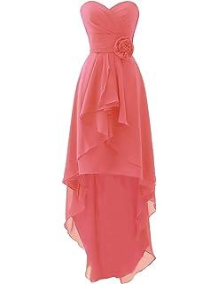 b84c3381556 Erosebridal High Low Chiffon Bridesmaid Dresses Strapless Casual Dresses