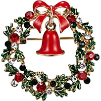 Timetries 1 Pcs Christmas Wreath Garland Brooch Breastpin Brooch Pin for Hat Scarf Clothing Decoration Photo Color