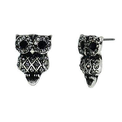d25db46f0 Image Unavailable. Image not available for. Color: Hoot Owl Earrings, Stud  Owl Earrings Silver Plated with Black ...