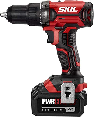 SKIL 20V 1 2 Inch Cordless Drill Driver, Includes 4.0Ah PWRCore 20 Lithium Battery and Charger – DL527503