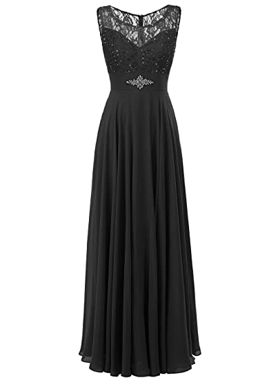 ALAGIRLS Women Round Neck Lace Beaded Long Prom Dresses Chiffon Eevning Party Gowns Black UK6