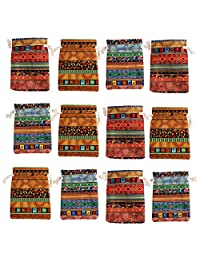 kilofly 12pc Egyptian Style Jewelry Coin Pouches Aztec Print Drawstring Gift Bag