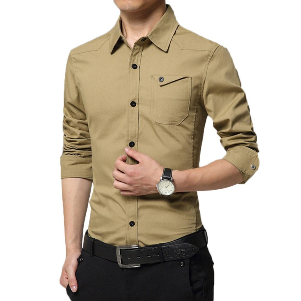 Shirts For Men,HOT SALE !! Farjing Mens Autumn Casual Military Cargo Slim Button Long Sleeve Shirt Top Blouse(XL,Khaki)