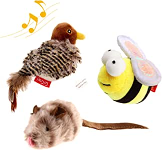 Gigwi Interactive Cat Toys Animal Sound Bird/Cricket/Bee Interactive Squeaking Cat Toys Melody Chaser& Toys for Cats to Play Alone,Play N Squeak Kitten Toys for Boredom