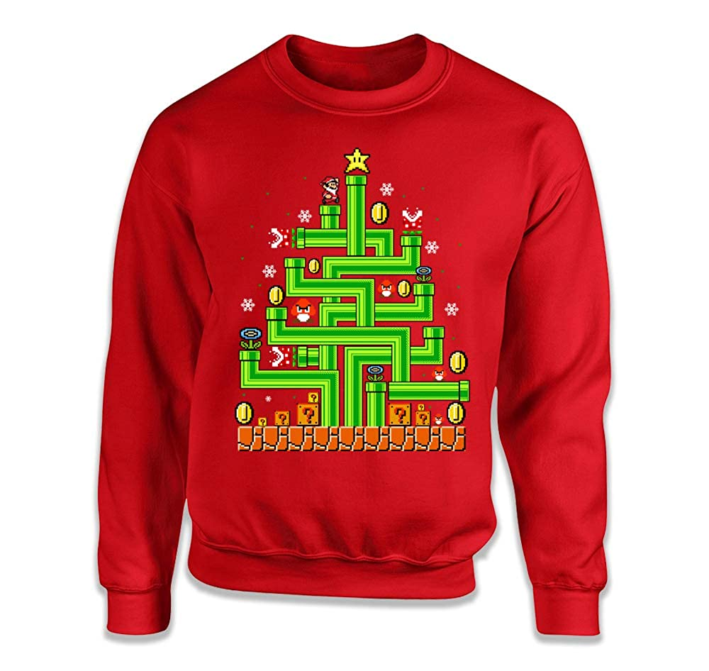 Gamer Christmas Tree Shirt Video Game Ugly Christmas Sweater Geeks Nerds Mario MD-273