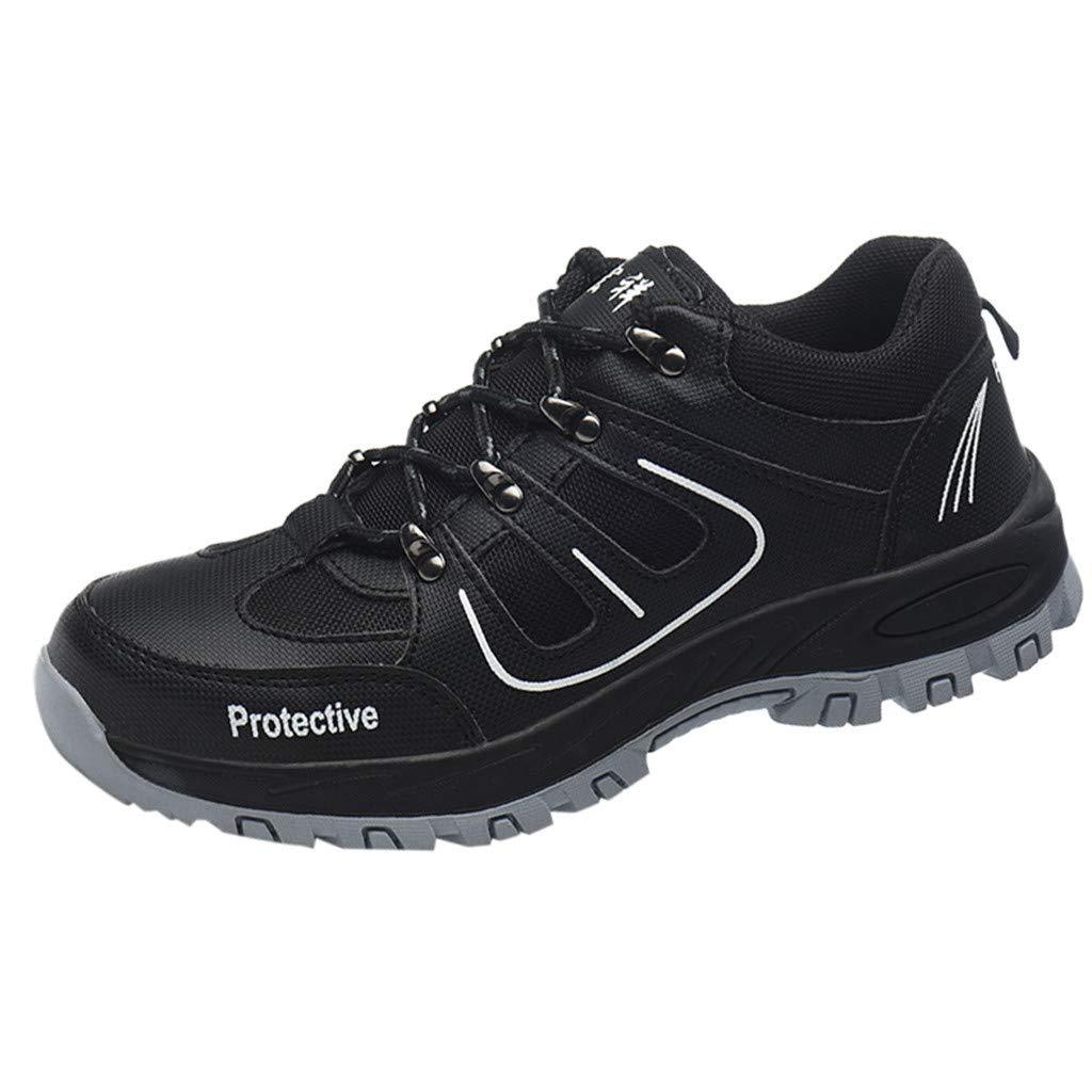 Women Men Unisex Hiking Labor Shoes Mesh Breathable Steel Toe Cap Puncture Proof Breathable Slip Resistant Shoe by Lowprofile Black