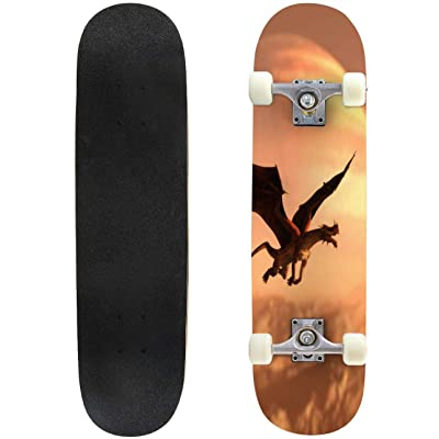 "get high by Being Young Modernity Animals Art Stock Pictures Outdoor Skateboard 31""x8"" Pro Complete Skate Board Cruiser 8 Layers Double Kick Concave Deck Maple Longboards for Youths Sports : Sports & Outdoors"