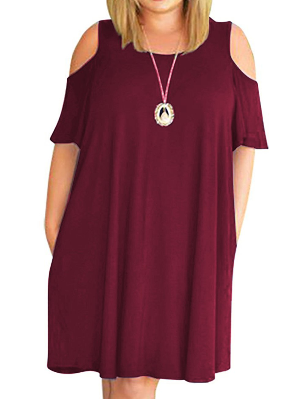 Kancystore Women's Summer Short Sleeve Cut Out Cold Shoulder Loose Fit Dress Top Wine 1X