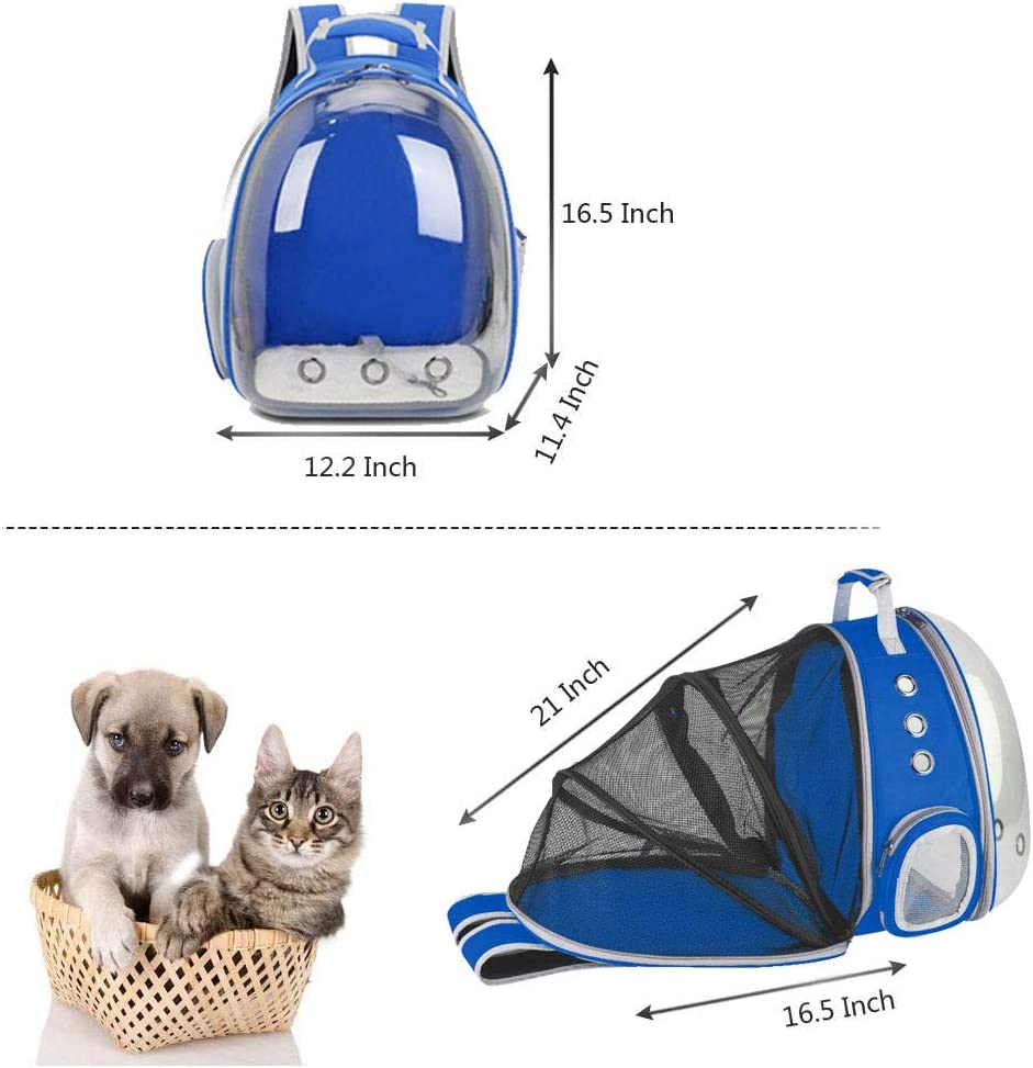 Foldable Pet Bubble Backpack Carriers for Cats Puppy Dogs and Birds Ventilate Transparent Capsule Carrier Backpack for Travel BEIKOTT Cat Backpack Carriers Hiking and Outdoor Use Airline-Approved