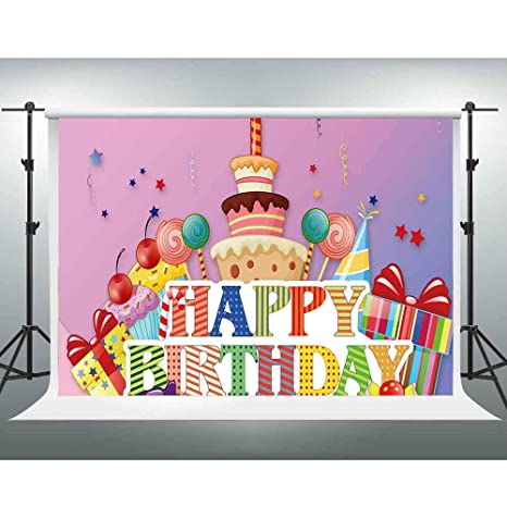 amazon com gesen birthday backdrop 10x7ft colorful cartoon cake