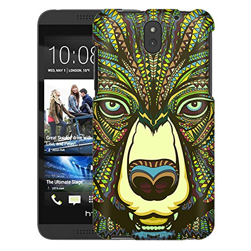 HTC Desire 610 Case, Snap On Cover by Trek Aztec Bear Head Green One Piece Slim Case (Phone 610 Cases Aztec Desire Htc)