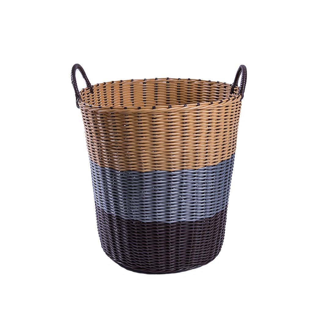 WCJ シンプル コーヒーカラー 家庭用 プラスチックハンパー 収納バスケット ランドリーバスケット M 032 B07K2W1RPD  Medium