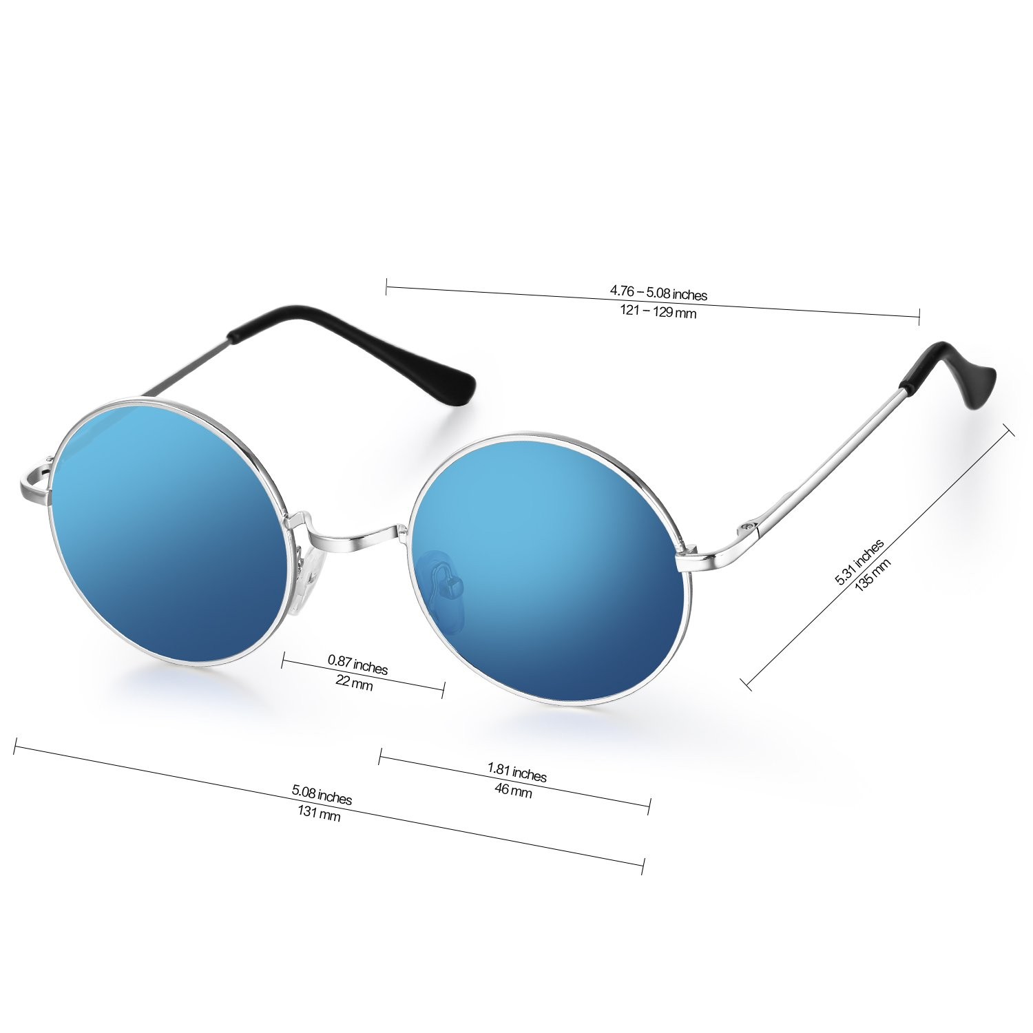 Menton Ezil John Lennon Small Round Sunglasses Retro Vintage Style Hippy Glasses For Men and Women with Circle Polarized Lens Metal Frame Spring Hinge Lifetime Breakage Guarantee