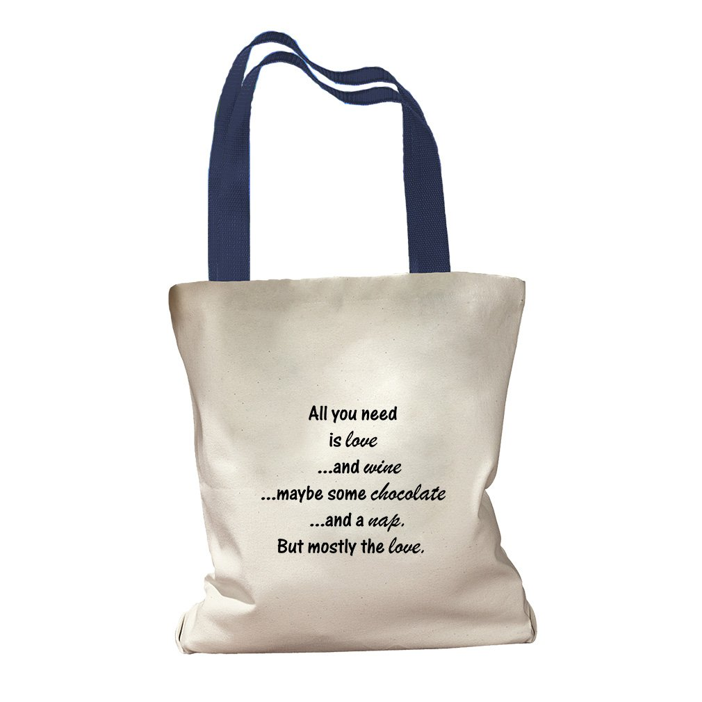 A Nap But Mostly The Love Canvas Colored Handles Tote Bag - Royal Blue