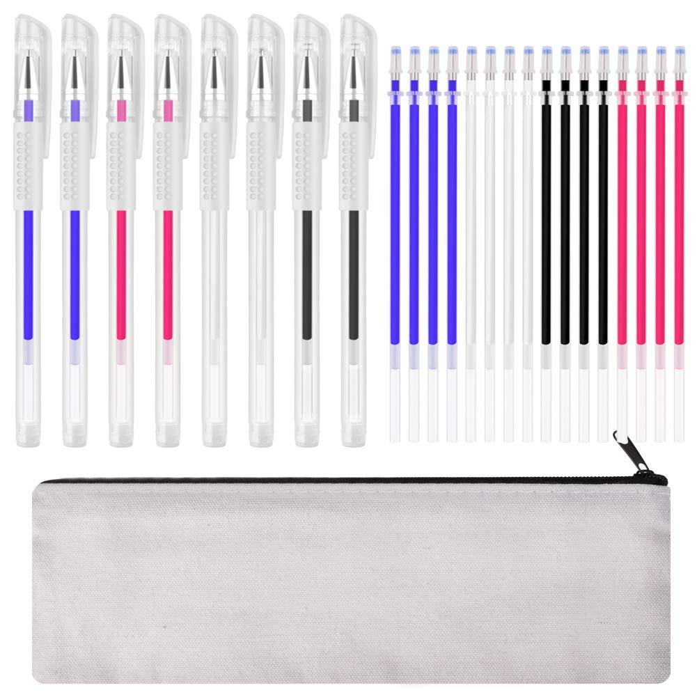 WXJ13 24 Heat Erasable Fabric Pens Heat Pens for Fabric with 8 Pen Holder 1 Pencil Case