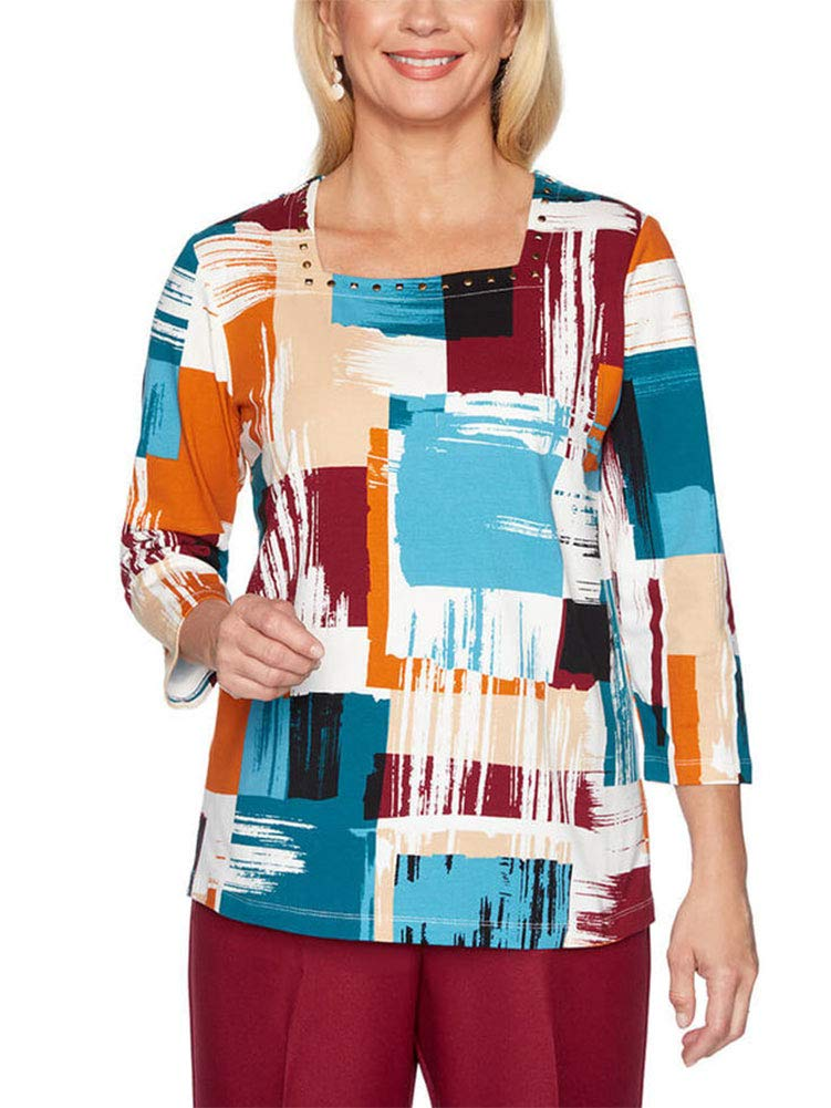 Alfred Dunner Women's Classics Patchwork Printed Shirt - Petite Size, Multi, XLarge Petite by Alfred Dunner