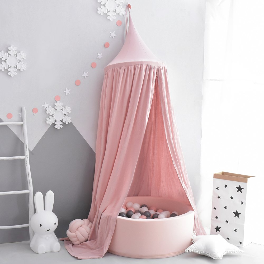 Rosa 100/% Algod/ón Mosquitera Para Cuna Ni/ña Cambio de Imagen Chicas Dormitorio Altura 240cm Cama con Dosel para Ni/ños,Princesa de Dosel de la Cama