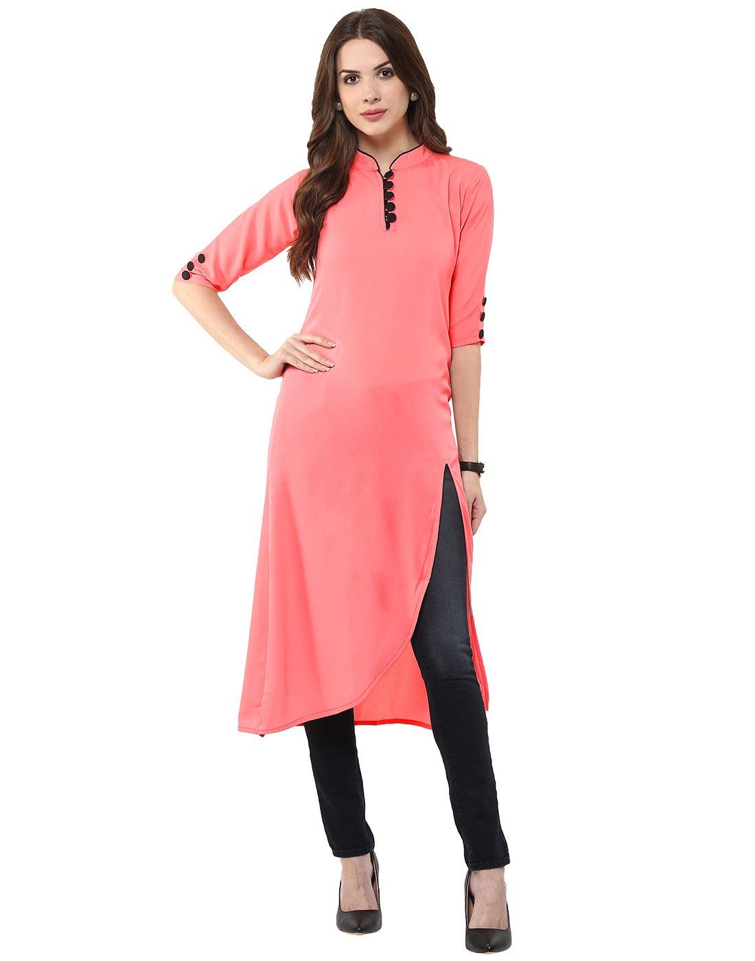 Janasya Indian Tunic Tops Crepe Kurti for Women (JNE1237-PINK-KR-033-L)