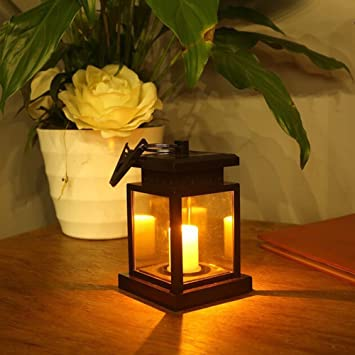 ZQEDY Lámpara de mesa LED solar para jardín, negro: Amazon ...