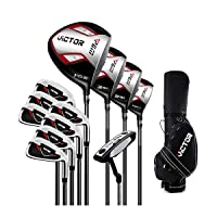 Golf Clubs Complete Set for Men 13 Piece Includes Titanium Golf Driver, 3 & #5 Fairway Woods, 4 Hybrid, 5-SW Irons, Putter and Golf Bag