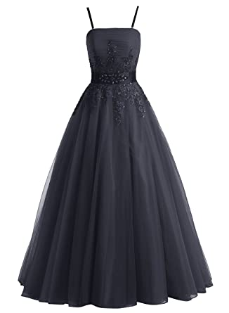 Bbonlinedress Long Tulle A-Line Evening Prom Dresses Floral Beaded Ball Gowns With Straps Black