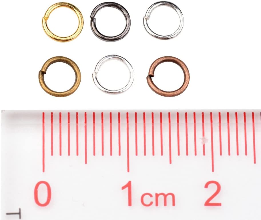 PandaHall Elite 1 Small Box 6 Mixed Colors about 2100pcs Iron Jump Rings Close but Unsoldered 8x0.7mm