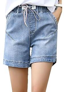 3cdfbc0010 Pandapang Women's Straight Leg Elastic Waist All-Match Distressed Denim  Jeans Vogue Short