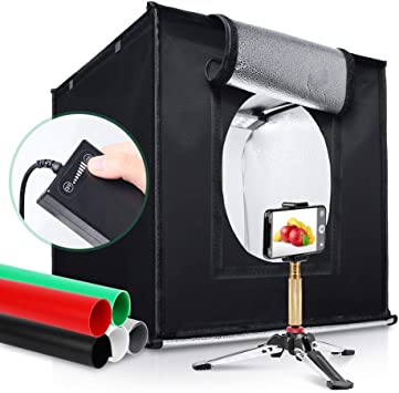 Amzdeal 16in Photo Studio Tent Fordable LED Light Box Photography Kit with White Black Backdrops