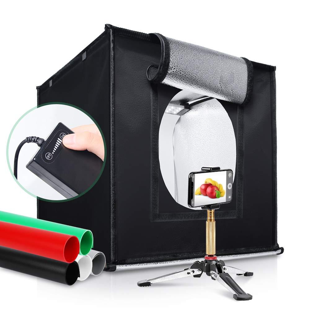 Kshioe Table Top Light Box 16in x 16in 120 LED Studio Box Shooting Tent Kit with 5 Color PVC Backdrops