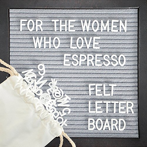 [NEW EDITION] Gray Felt Letter Board 10x10 Inches. Premium Espresso Wood Frame - Sign Board, 362 Changeable White Plastic Letters, Numbers & Symbols, Espresso Stand & Bag - All In A Gift (Sign Board)