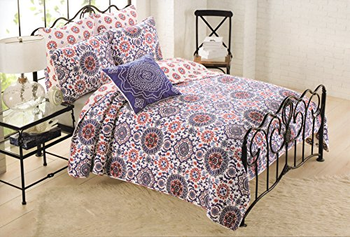Amazon.com: Cynthia Rowley 3pc Quilt Set Red Blue White Cotton ... : cynthia rowley twin quilt - Adamdwight.com
