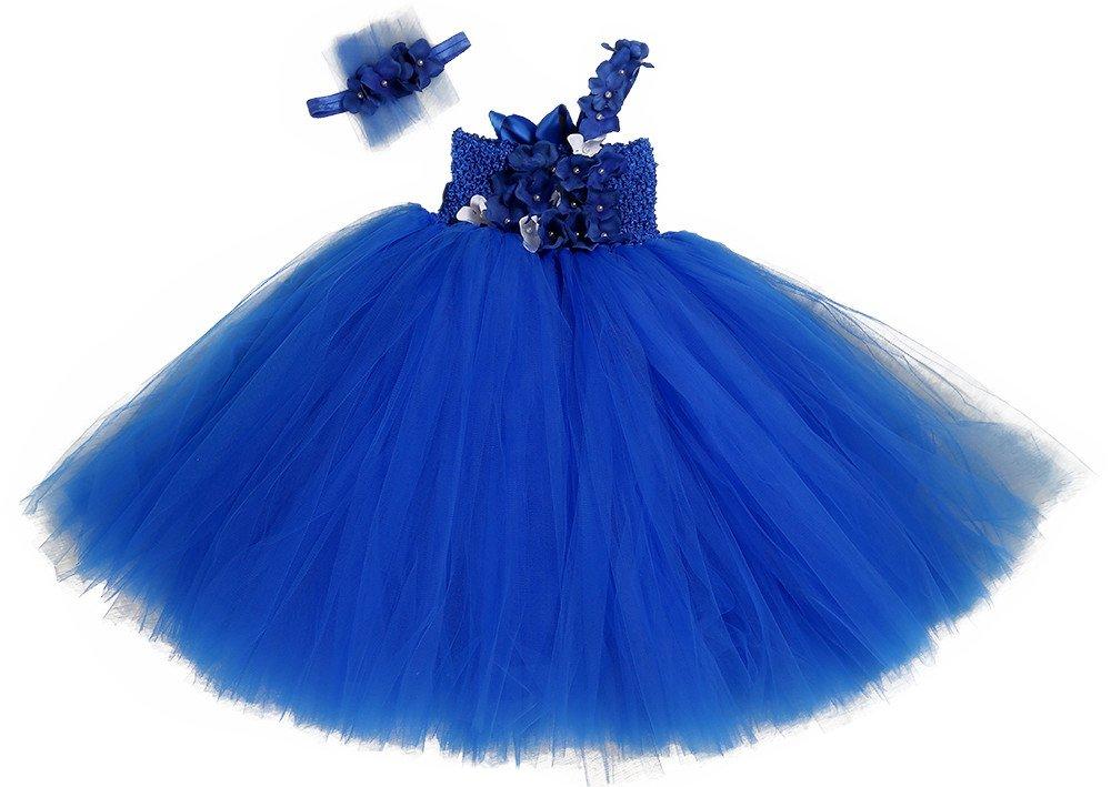 Tutu Dreams Flower Girl Dresses For Birthday Wedding Party With Headband (M, Royal)