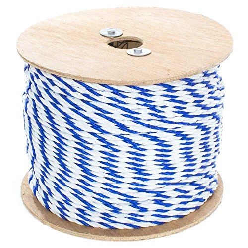 Golberg Twisted Polypropylene Pool Rope - 1/4 Inch x 300 Feet - 3-Strand Polypro Cord - Lightweight Utility Rope - Landlines, Safety Lines, Pool Lanes, and More - Blue and White ()