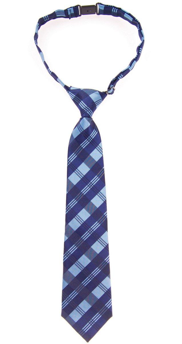 Retreez Tartan Plaid Patterns Woven Microfiber Pre-tied Boy's Tie - Blue - 24 months - 4 years
