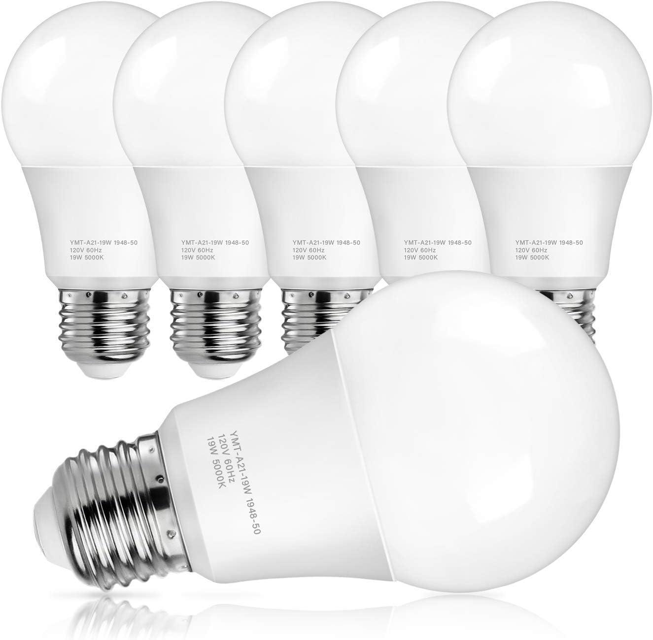 A21 LED Light Bulbs, 150 Watt Equivalent LED Bulbs, Daylight White 5000K, 2600 Lumens, E26 Standard Base, Non-Dimmable, 19W Light Bulbs for Bedroom Bathroom Living Room Commercial Lighting, Pack of 6
