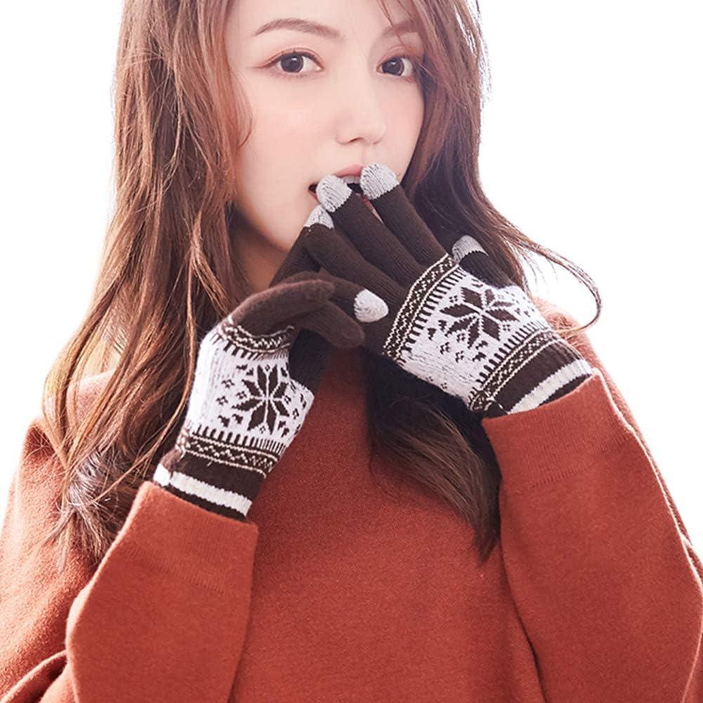 MAGIMODAC Touchscreen Handschuhe Winter Strick Gef/üttert Damen Winterhandschuhe Strickhandschuhe Fingerhandschuhe mit Fleecefutter