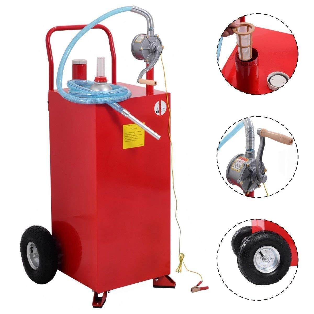 Goplus 30 Gallon Gas Caddy, Fuel Diesel Storage Tank, Rugged Durable Material, Anti-Static Ground Clamp, Labor-Saving Hand Operated Defueling Pump, 8 Feet Discharge Hose Red Caddy (Red) by Goplus