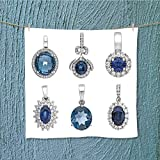 L-QN towel bar pendants with sapphire isolated on white background fashion jewelry Multipurpose Quick Drying W19.7 x W19.7
