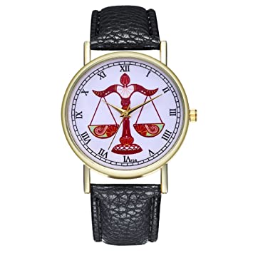 HSDDA Hombres Libra Zodiac Sign Watch Reloj de Cuero cumpleaños para Damas