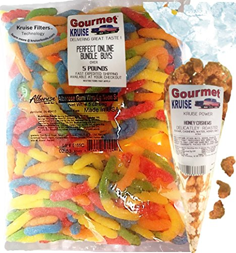 (Gummi Gummy Sour Worms Albanese - Bulk Candy 4.5Lb Bag With Cashews Honey Roasted Delicately Gourmet Kruise Signature Gift Bag 4.5 OZ (NET WT 76.5 OZ) 2 Item)