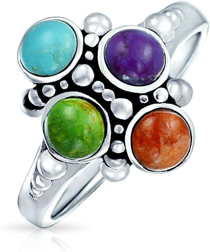 Bling Jewelry–Naturales comprimidos sintéticas turquesa Cluster Anillo Plata de ley