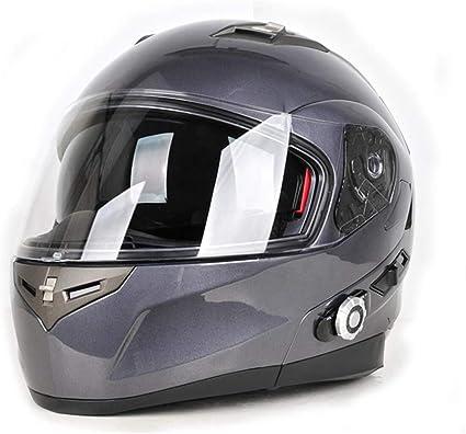 Gwjnb Modulare Bluetooth Helm Dot Motorrad Sicherheits Helme Motorrad Flip Up Dual Visiere Full Face Helm Eingebaut In Dual Speaker Bluetooth Headset Mit Fm Touren Helmen Gray L Sport Freizeit
