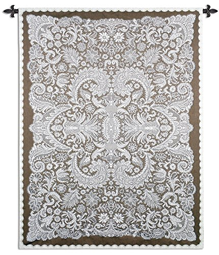 (Venetian Lace by Julianna James - Woven Tapestry Wall Art Hanging - Symmetrical Lace Pattern Venetian Filigree Designed Artwork - 100% Cotton - USA 69X51)