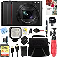 Panasonic LUMIX 4K Digital Camera ZS200 w/20 MP Sensor, 24-360mm LEICA DC Lens Zoom (Black) + 64GB Dual Battery Deluxe Accessory Bundle