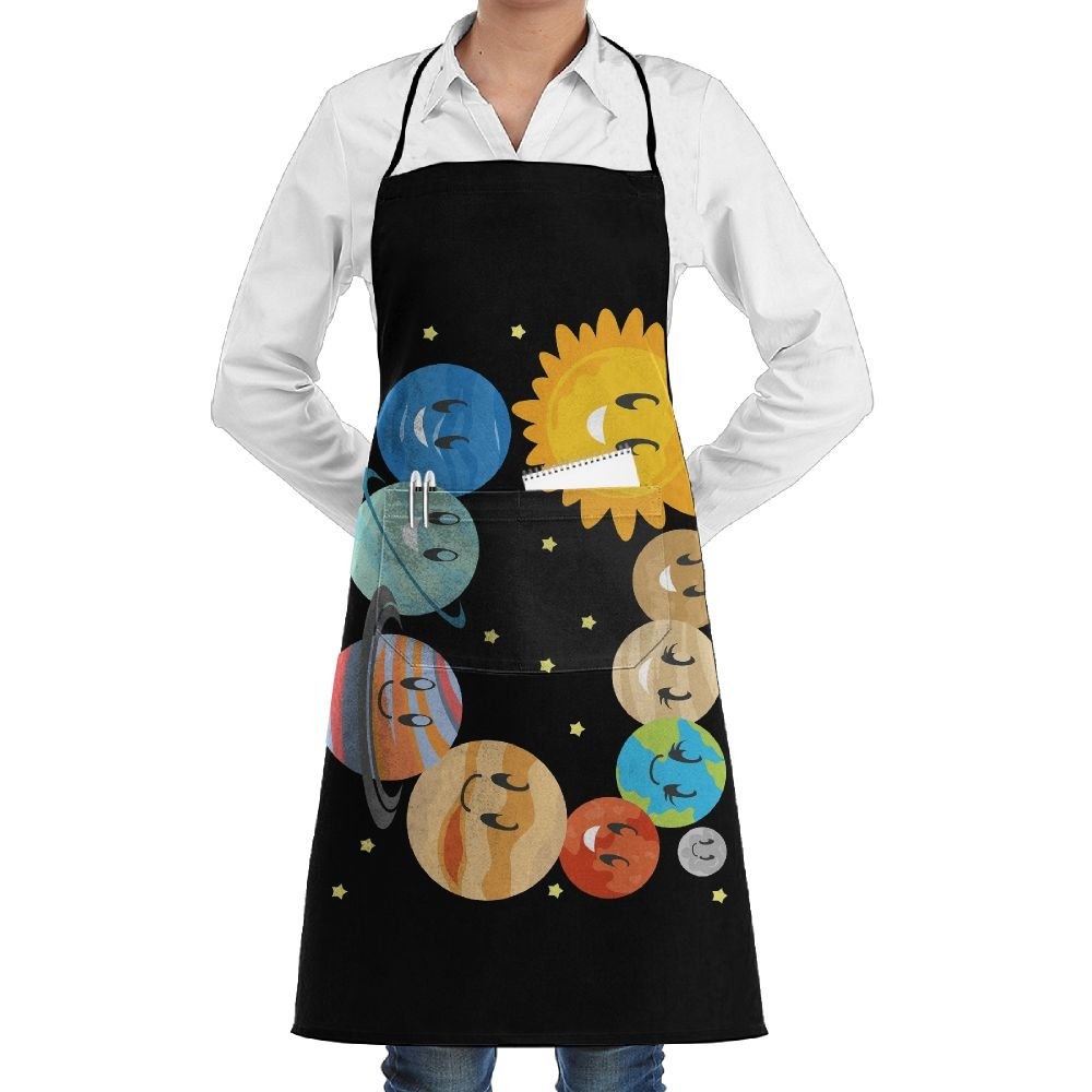 Novelty Cute Solar System Kitchen Chef Apron With Big Pockets - Chef Apron For Cooking,Baking,Crafting,Gardening And BBQ