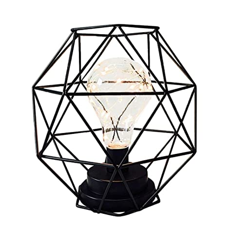 Iron Metal Night Light Pawaca Table Lamps Artistic Metal Basket